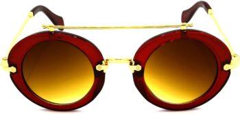 Air Strike Brown Lens Red Frame Round Sunglass Stylish Sunglasses For Men Women Boys Girls - extra