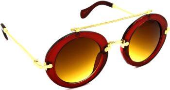 Air Strike Brown Lens Red Frame Round Sunglass Stylish Sunglasses For Men Women Boys Girls