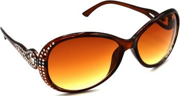 Air Strike Brown Lens Silver Frame Round Sunglass Stylish For Sunglasses Women & Girls