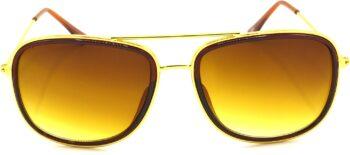 Air Strike Brown Lens Gold Frame Rectangular Sunglass Stylish For Sunglasses Men Women Boys Girls - extra