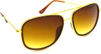 Air Strike Brown Lens Gold Frame Rectangular Sunglass Stylish For Sunglasses Men Women Boys Girls