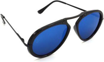 Air Strike Blue Lens Black Frame Wrap-around Sunglass Stylish For Sunglasses Men Women Boys Girls
