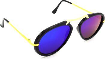 Air Strike Pink Lens Golden Frame Wrap-around Sunglass Stylish For Sunglasses Men Women Boys Girls