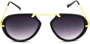 Air Strike Grey Lens Golden Frame Wrap-around Sunglass Stylish For Sunglasses Men Women Boys Girls - extra