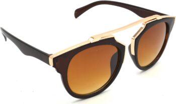 Air Strike Brown Lens Golden Frame Wrap-around Sunglass Stylish For Sunglasses Men Women Boys Girls