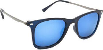 Air Strike Silver Lens Golden Frame Rectangular Stylish For Sunglasses Men Women Boys Girls