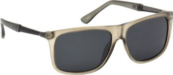 Air Strike Clear Lens Grey Frame Rectangular Stylish Polarized Sunglasses For Women & Girls
