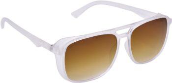 Air Strike Brown Lens White Frame Retro Square Sunglass Stylish For Sunglasses Men Women Boys Girls