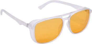 Air Strike Orange Lens White Frame Retro Square Sunglass Stylish For Sunglasses Men Women Boys Girls
