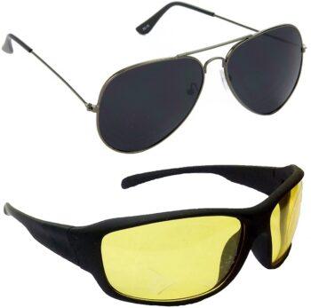 Air Strike Yellow Lens Grey Frame Pilot Stylish For Sunglasses Men Women Boys Girls