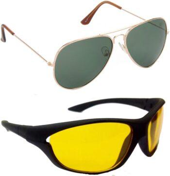 Air Strike Yellow Lens Gold Frame Pilot Stylish Sunglasses For Men Women Boys Girls