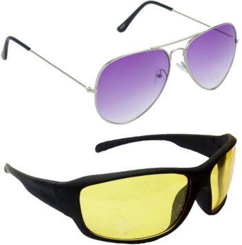 Air Strike Yellow Lens Silver Frame Pilot Stylish Sunglasses For Men Women Boys Girls