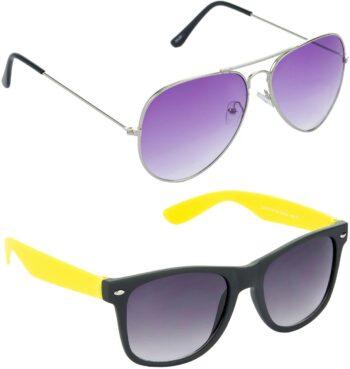 Air Strike Violet Lens Silver Frame Pilot Stylish For Sunglasses Men Women Boys Girls