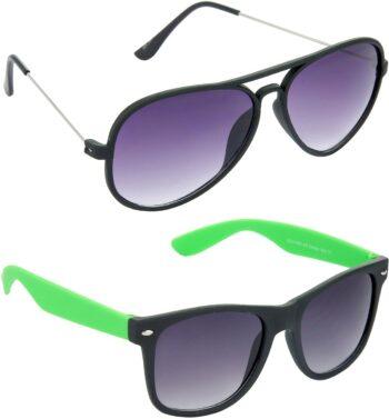 Air Strike Grey Lens Black Frame Pilot Stylish Sunglasses For Men Women Boys Girls