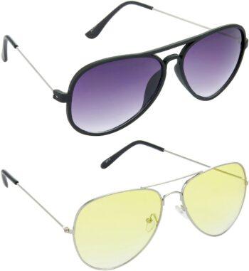 Air Strike Yellow Lens Silver Frame Pilot Stylish For Sunglasses Men Women Boys Girls