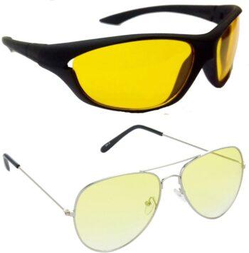Air Strike Yellow Lens Silver Frame Sports Sunglass Stylish Sunglasses For Men Women Boys Girls