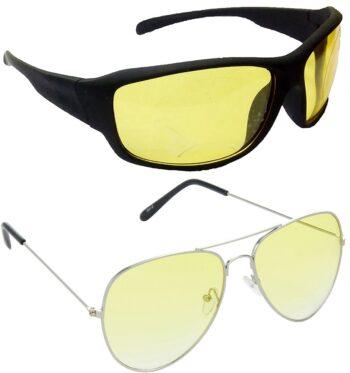 Air Strike Yellow Lens Silver Frame Sports Sunglass Stylish For Sunglasses Men Women Boys Girls