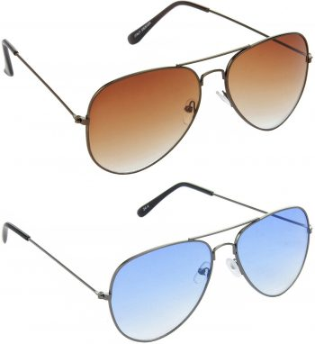 Air Strike Brown Lens Grey Frame Pilot Stylish For Sunglasses Men Women Boys Girls