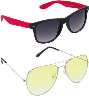 Air Strike Yellow Lens Silver Frame Rectangular Stylish For Sunglasses Men Women Boys Girls