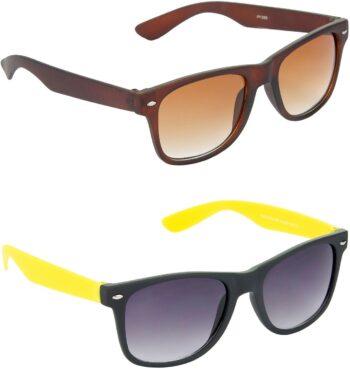 Air Strike Grey Lens Brown Frame Rectangular Stylish For Sunglasses Men Women Boys Girls