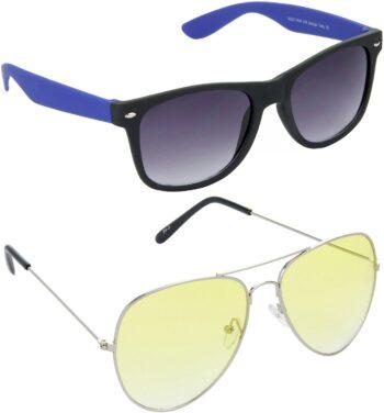 Air Strike Yellow Lens Silver Frame Rectangular Stylish Sunglasses For Men Women Boys Girls