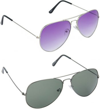 Air Strike Violet Lens Silver Frame Pilot Stylish Sunglasses For Men Women Boys Girls