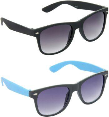 Air Strike Grey Lens Black Frame Rectangular Stylish Sunglasses For Men Women Boys Girls