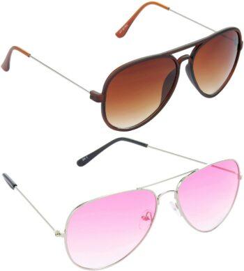 Air Strike Pink Lens Silver Frame Pilot Stylish Sunglasses For Men Women Boys Girls