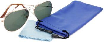 Air Strike Green Lens Gold Frame Pilot Stylish For Sunglasses Men Women Boys Girls - extra 2