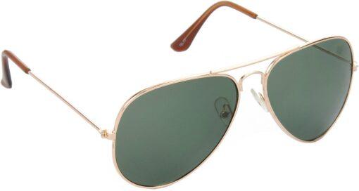 Air Strike Green Lens Gold Frame Pilot Stylish For Sunglasses Men Women Boys Girls
