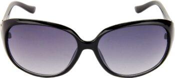 Air Strike Blue Lens Black Frame Over-sized Sunglass Stylish Sunglasses For Men Women Boys Girls - extra